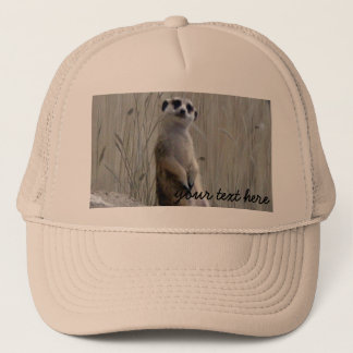 Personalize this cute meerkat trucker hat
