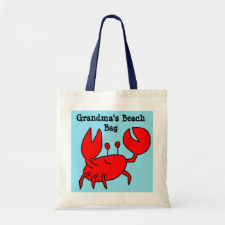 Personalize this Cute Red Crab Beach Bag Tote