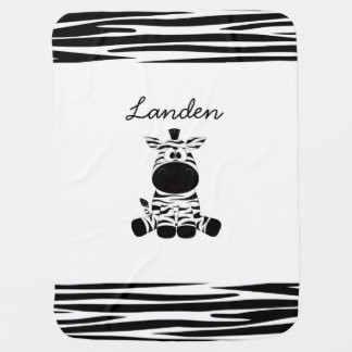 Personalize this cute Zebra Blanket