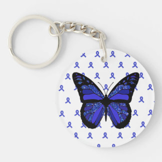 Personalize this ME/CFS Blue Butterfly Key Chain