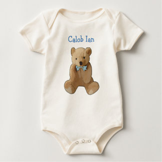 Personalize this Organic Teddy Bear Romper Baby Bodysuit