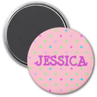 Personalize this  Pink Polka Dotted Name Magnet