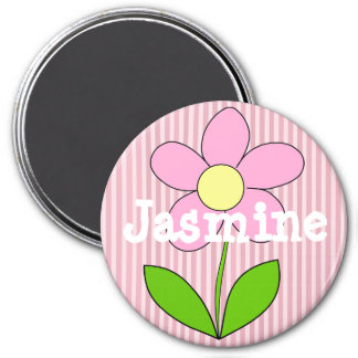 Personalize this Pink Striped Flower Name Magnet