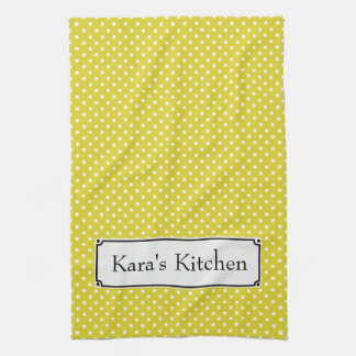 Personalize this Yellow Polka Dot Kitchen Towel