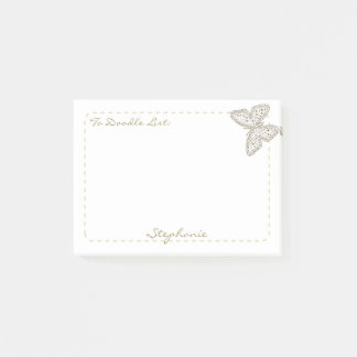 """Personalize """"To Doodle List"""" Doodle Art Butterfly Post-it Notes"""