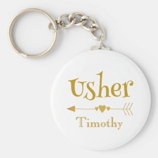 Personalize Usher Wedding Favor Gift Key Ring