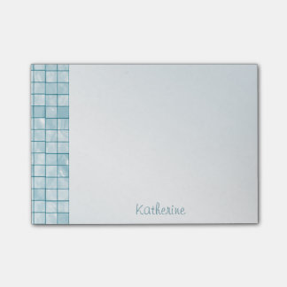 Personalize Variegated Aqua Decorative Tile Post-it Notes