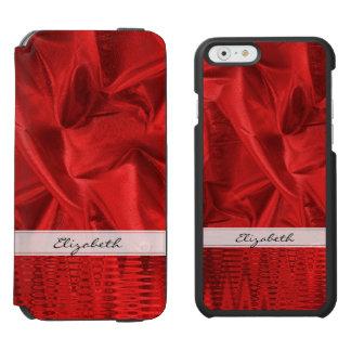 Personalize: Vivid Red Faux Metallic Lame' Fabric Incipio Watson™ iPhone 6 Wallet Case