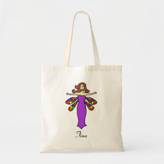 Personalize W/Any Name Redhead Dragonfly Fairy Tote Bag