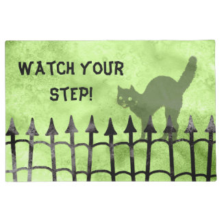 "Personalize:  ""Watch your step"" Halloween Greeting Doormat"