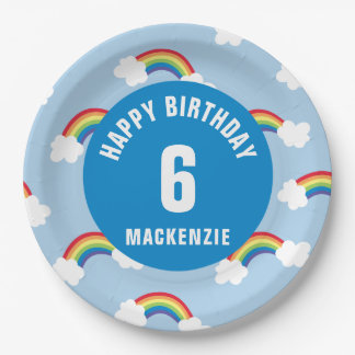 Personalize Whimsical Rainbow Birthday Party Plate 9 Inch Paper Plate