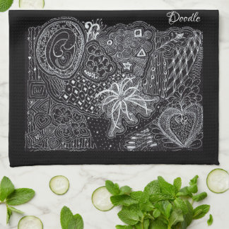 Personalize: White/Black Random Doodle Art Fun Tea Towel