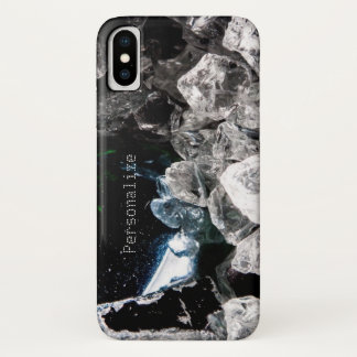 Personalize White Crystals in Black outer space iPhone X Case