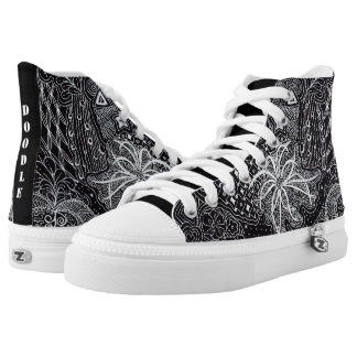 Personalize: White Ink/Black Wearable Doodle Art High Tops
