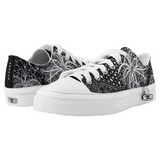 Personalize: White Ink/Black Wearable Doodle Art Low Tops