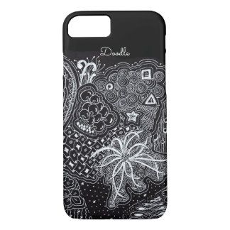 Personalize: White Ink on Black Fun Doodle Art iPhone 8/7 Case