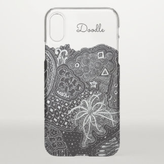 Personalize: White Ink on Black Fun Doodle Art iPhone X Case