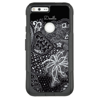 Personalize: White Ink on Black Fun Doodle Art OtterBox Commuter Google Pixel XL Case