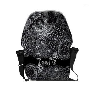 Personalize: White Ink on Black Unique Doodle Art Messenger Bag