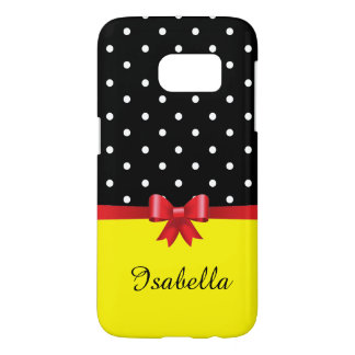 Personalize white polka dots red bow yellow