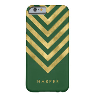 Personalize with name Green Faux Gold Geometric Barely There iPhone 6 Case
