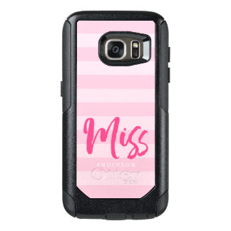 Personalize with Name Miss Preppy Pink Stripes OtterBox Samsung Galaxy S7 Case