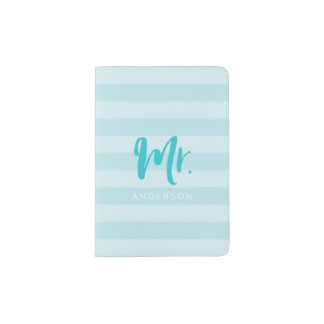 Personalize with Name Mr Blue Stripes Passport Holder