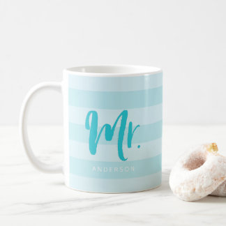 Personalize with Name Mr Preppy Blue Stripes Coffee Mug