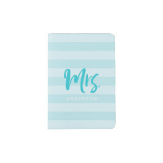 Personalize with Name Mrs Blue Stripes Passport Holder