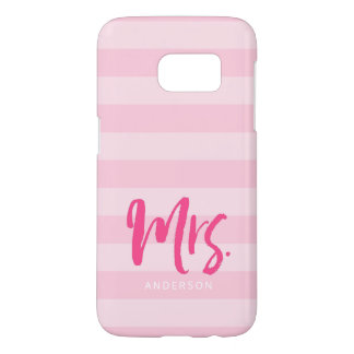 Personalize with Name Mrs Pink Stripes Preppy