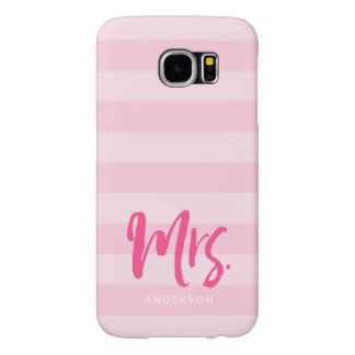 Personalize with Name Mrs Pink Stripes Preppy Samsung Galaxy S6 Cases