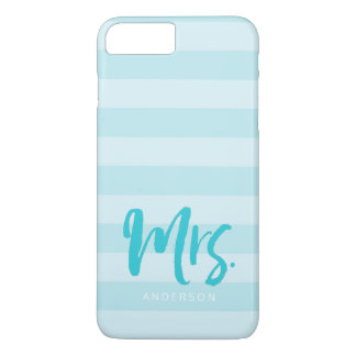 Personalize with Name Mrs Preppy Blue Stripes iPhone 8 Plus/7 Plus Case