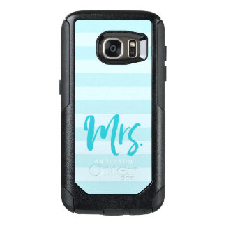 Personalize with Name Mrs Preppy Blue Stripes OtterBox Samsung Galaxy S7 Case