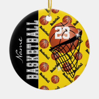 Personalize Yellow Basketball Ceramic Ornament