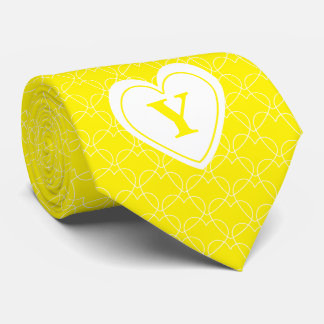 Personalize: Yellow Initial Minimal Hearts Pattern Tie