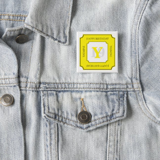 Personalize: Yellow/White Bold Initial and Age 15 Cm Square Badge