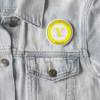 Personalize: Yellow/White Bold Initial and Age 6 Cm Round Badge