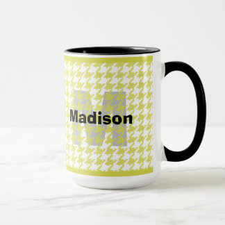 Personalize:  Yellow/White Houndstooth Pattern Mug