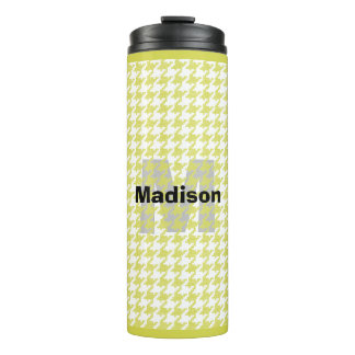 Personalize:  Yellow/White Houndstooth Pattern Thermal Tumbler