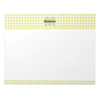 Personalize:  Yellow / White Textured Houndstooth Notepad
