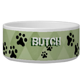 PERSONALIZE your Dog's Pawprints Bowl (green )