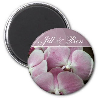 Personalize your own orchid design 6 cm round magnet