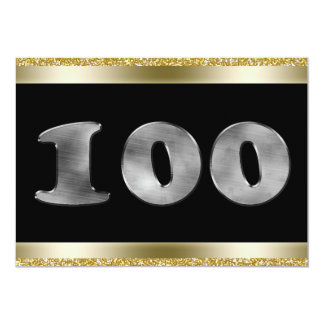 Personalized 100th Birthday Silver Number 100 13 Cm X 18 Cm Invitation Card