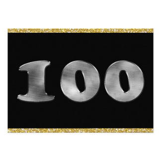 Personalized 100th Birthday Silver Number 100 Personalized Invites