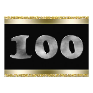 Personalized 100th Birthday Silver Number 100 Custom Invitations