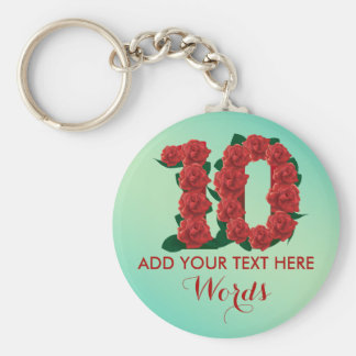 Personalized 10th wedding anniversary 10 Keychain