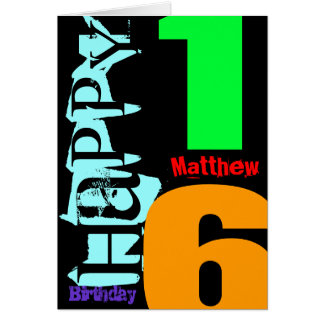 Personalized 16th Birthday POP Greeting Card