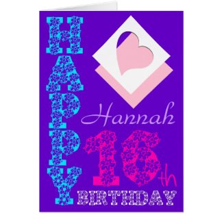 Personalized 16th Birthday Purple Greeting C Card