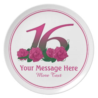 Personalized 16th customized text 16 flowers plate