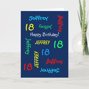 Personalized 18th Birthday Card Any Name Blue Teen